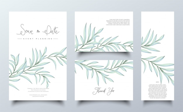 Set of watercolor green leaves cards template