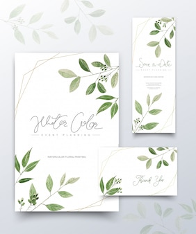 Set of watercolor green leaves cards.