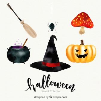 Set of watercolor halloween elements