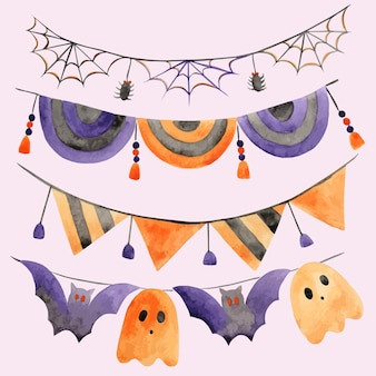 Set of watercolor halloween garlands with spider webs and ghosts