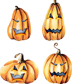 Set of watercolor halloween pumpkins, hand painted isolated on a white background