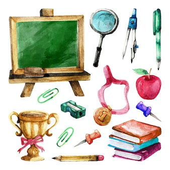 Set of watercolor hand drawn back to school elements