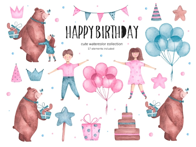 Set of watercolor happy birthday elements bear hugs balloons girl boy