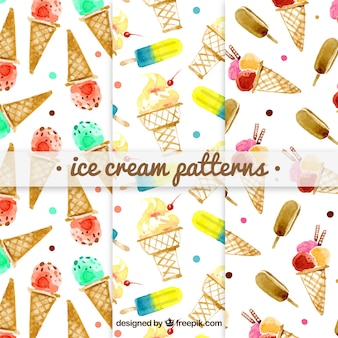 Set of watercolor ice cream patterns