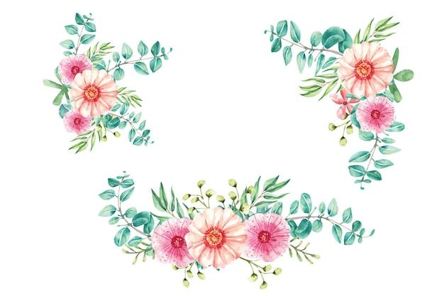 Set watercolor illustration design leaf eucalyptus for wedding invitation