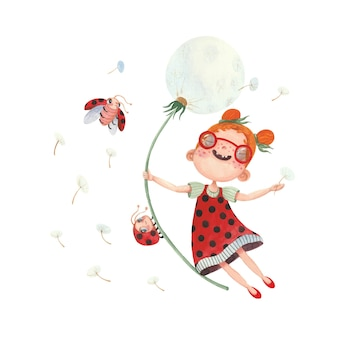 Set of watercolor illustrations with a girl dandelions and ladybirds