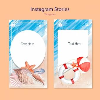 Set of watercolor instagram templates