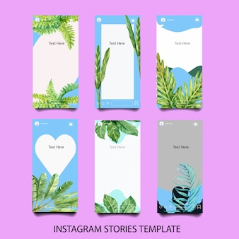 Set of watercolor instagram templates