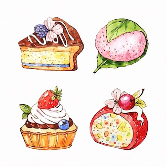 Set of watercolor japanese dessert