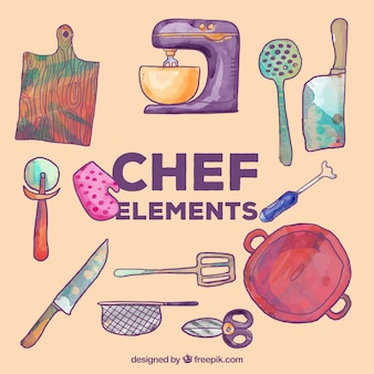 Set of watercolor kitchen elements
