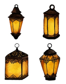 Set of watercolor lanterns, ramadan celebration lights.