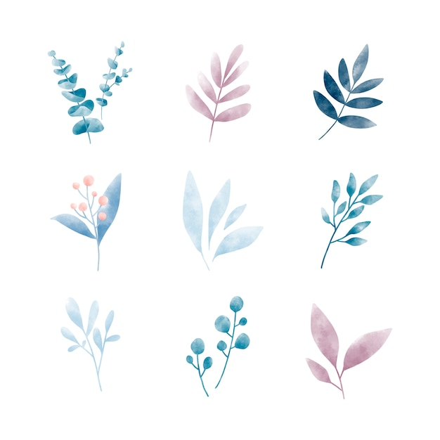 Set of watercolor leaves vectors