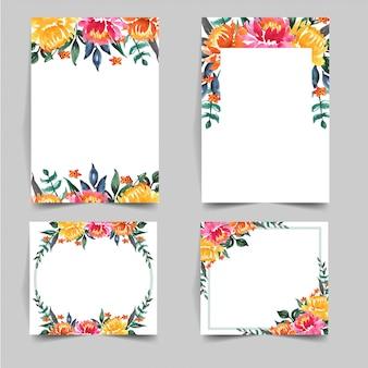 Set of watercolor lovely flower for wedding invitation