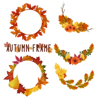 Set of watercolor painted autumn leaf frame, leaves clipart. hand drawn isolated on white background.