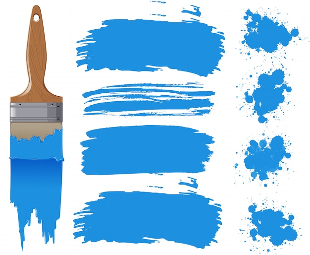 Set of watercolor painting in blue with equipments