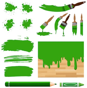 Set of watercolor painting in green with equipments