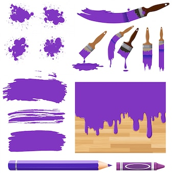 Set of watercolor painting in purple with equipments