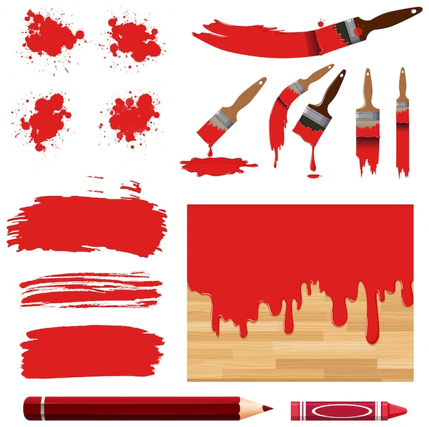 Set of watercolor painting in red with equipments