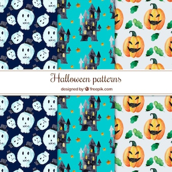 Set of watercolor patterns with halloween elements