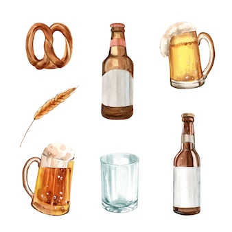 Set of watercolor pretzel, barley, beer illustration