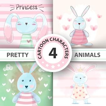 Set watercolor rabbit