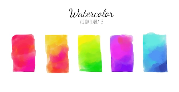 Set of watercolor rainbow backgrounds.