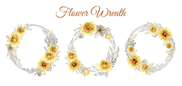 Set of watercolor rose gold yellow flower wreath