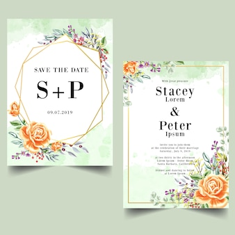 Set of watercolor rose orange wedding invitation