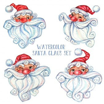 Set of watercolor santa claus.