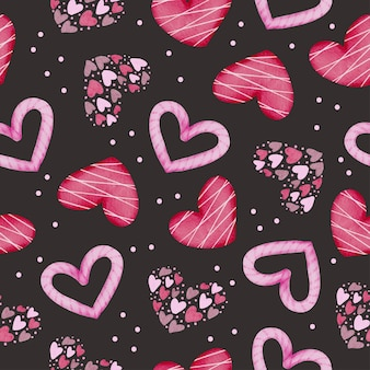 Set of watercolor seamless pattern with pink and red hearts on black background,  isolated watercolor valentine concept element lovely romantic red-pink hearts for decoration, illustration.