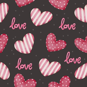 Set watercolor seamless pattern with red hearts and love letter, isolated watercolor valentine concept element lovely romantic for decoration, illustration.