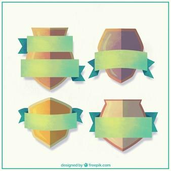 Set di scudi acquerello con nastri