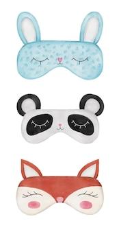 Set of watercolor sleep masks in the form of animals rabbit panda fox