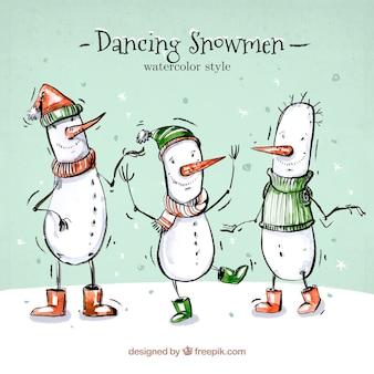 Set of watercolor snowmen dancing