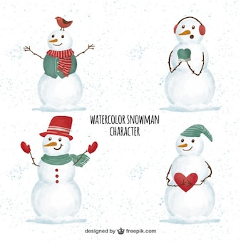 Set of watercolor snowmen in winter clothes
