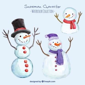 Set of watercolor snowmen
