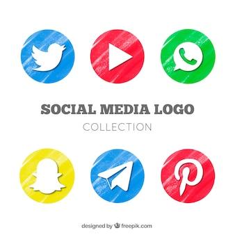 Set of watercolor social network logos