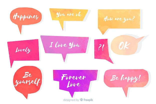 Set of watercolor speech bubbles with different expressions