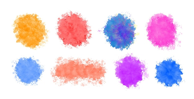 Set of watercolor splash splatter in various colors