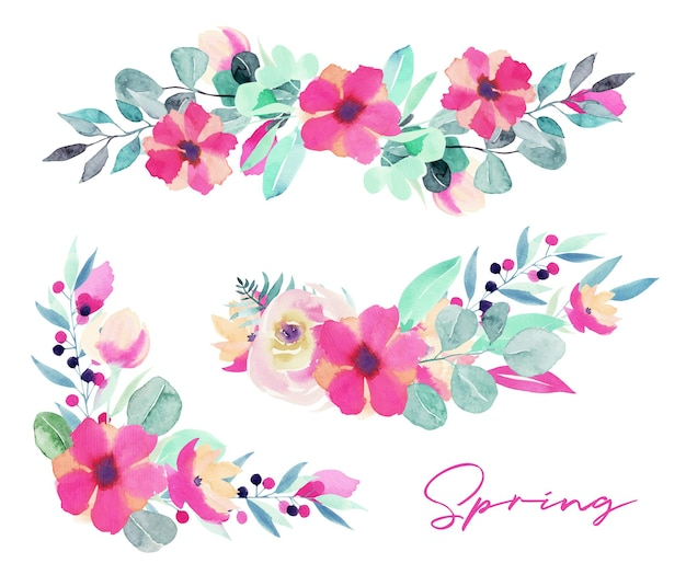 Set of watercolor spring floral bouquets and compositions of pink flowers, wildflowers, green leaves, branches and eucalyptus