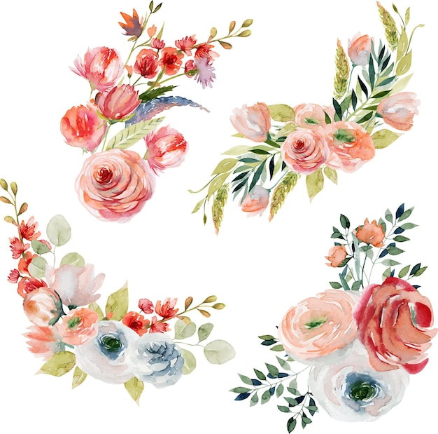 Set of watercolor spring floral bouquets and compositions of pink and white roses, wildflowers, green leaves and branches