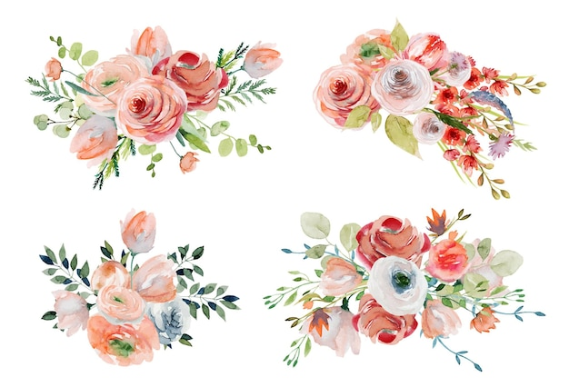 Set of watercolor spring floral bouquets and compositions of pink and white roses, wildflowers and greenery