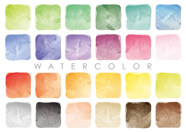 Set of watercolor square swatches or backgrounds.  vector isolated on a white background.