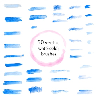 Set of watercolor vector brushes