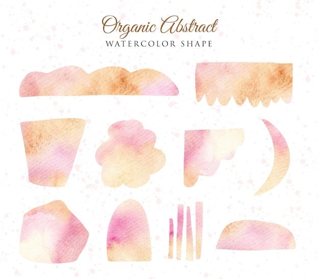 Set of watercolor yellow pink abstract organic shape