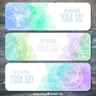 Set of watercolor yoga day banners with hand drawn poses