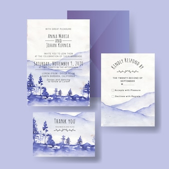 A set of watercolors winter mountain wedding invitations