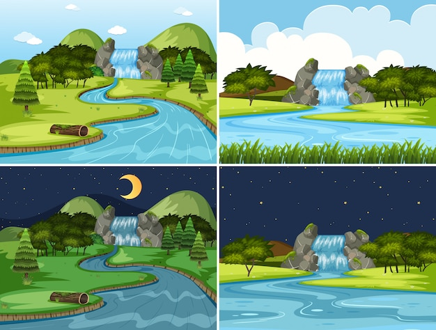 Set of waterfall night and day scenes