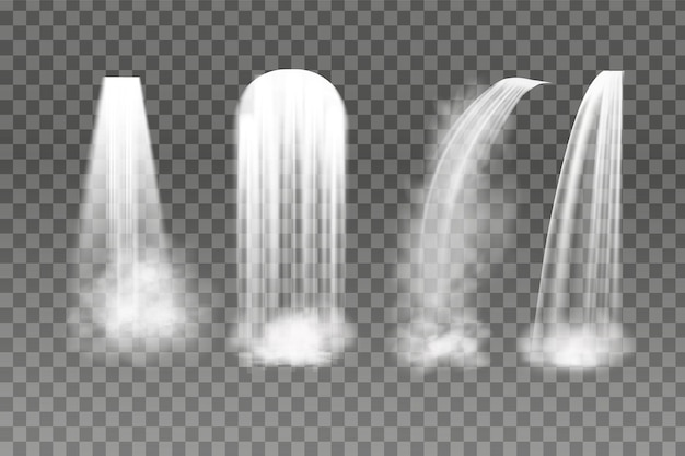 Set of waterfalls on transparent background
