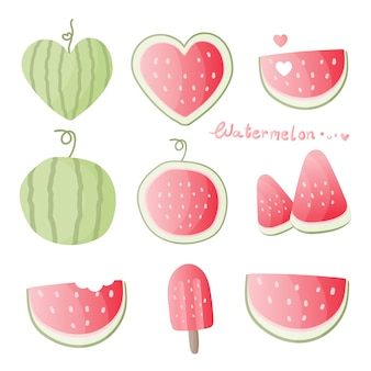 Set of watermelon in different shapes